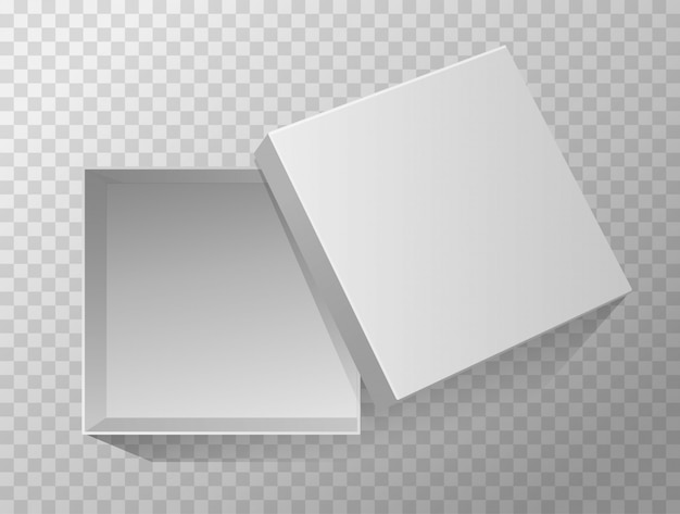 Opened empty gift box. top view. grey mockup.