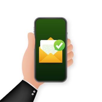녹색 확인 표시가있는 열린 봉투 및 문서