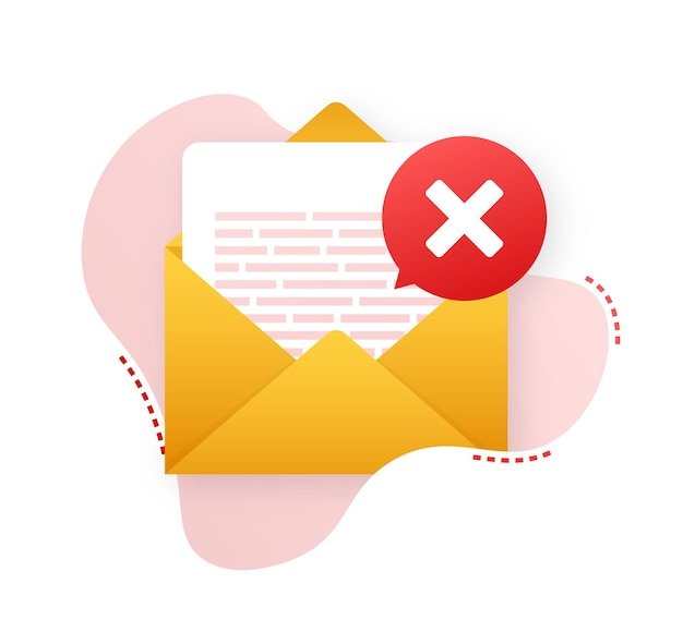 Opened envelope and document with red cross mark. verification email. vector stock illustration.