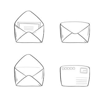 Открытый конверт в контурном линейном стиле.