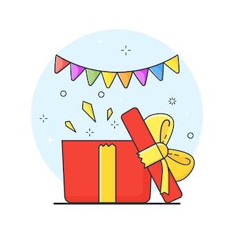 열린 선물 상자, 흰색 바탕에 깜짝 개념. 삽화.