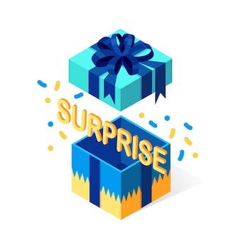 Открытая подарочная коробка с бантом, изолированной лентой. 3d изометрическая упаковка, сюрприз с конфетти.