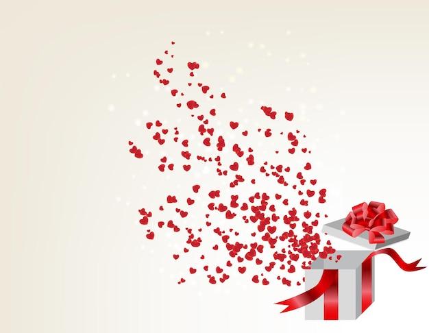 마음, 발렌타인 카드 비행 선물 상자를 열었습니다. 벡터 병