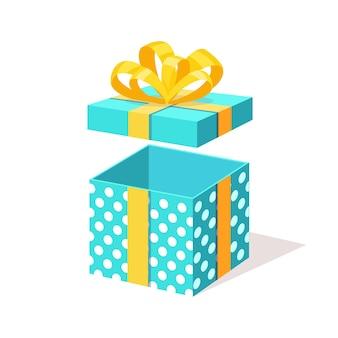 Открытая подарочная коробка с лентой на белом фоне