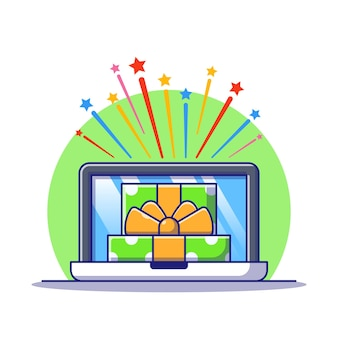 Opened gift box with star explosion and laptop receiving gift online illustration