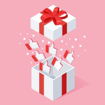 Opened gift box with thumbs up  on pink background.  isometric package, surprise with confetti. testimonials, feedback, customer review .
