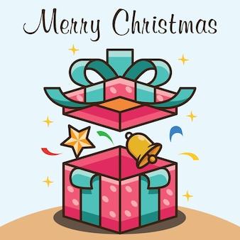 Открыт счастливого рождества подарочная коробка векторный дизайн иллюстрация