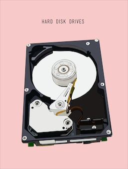 Opened hard disk drive, hand drawn sketch line art vector.
