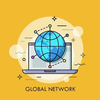 ロケーションマークに囲まれたオープンラップトップと地球儀グローバルネットワーキングの概念