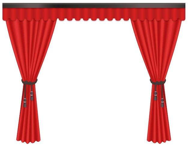 白い背景で隔離の豪華な、高価な緋色の赤い絹のベルベットのカーテンカーテンを開きました