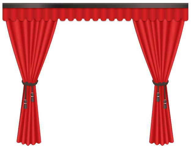 Opened luxury, expensive scarlet red silk velvet curtains draperies isolated on the white background