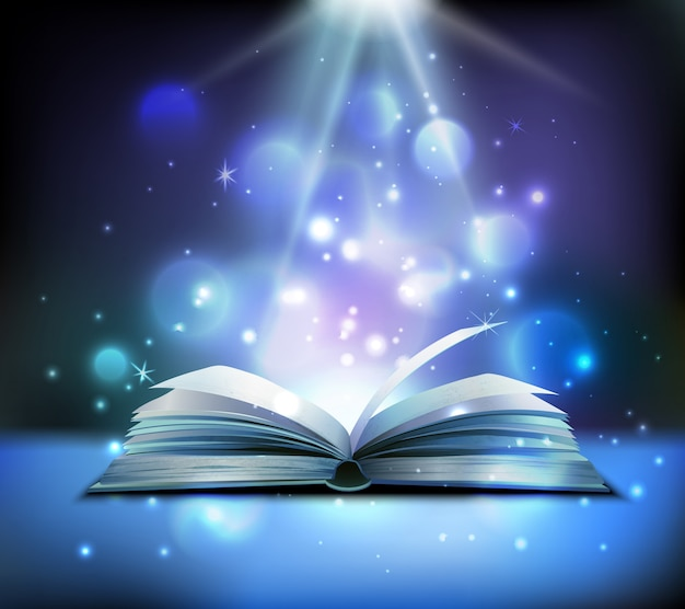 Opened magic book realistic image with bright sparkling light rays illuminating pages floating balls dark