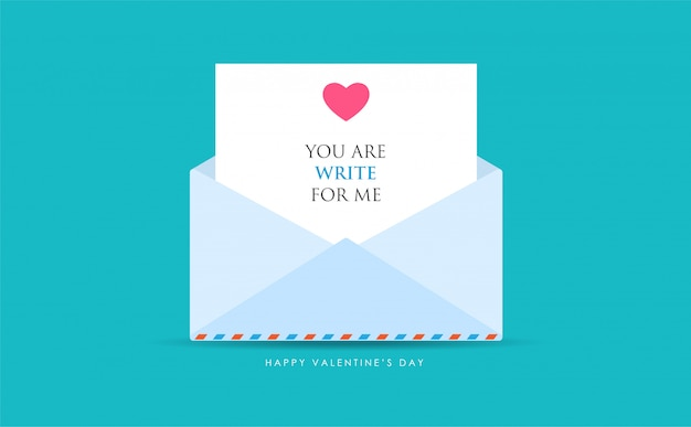An opened mail with love message