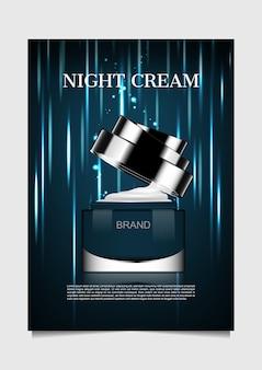 Opened night cream with falling lights on dark background