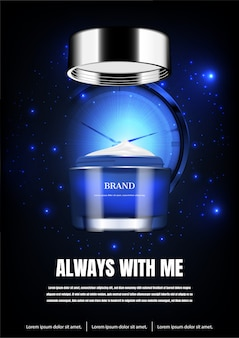 Opened night cream with time stop clock and blue tiny lights