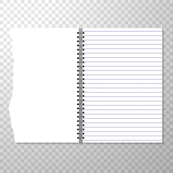 Шаблон открытого ноутбука с подкладкой и пустой страницей.