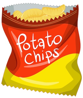 Opened pack of potato chips isolated