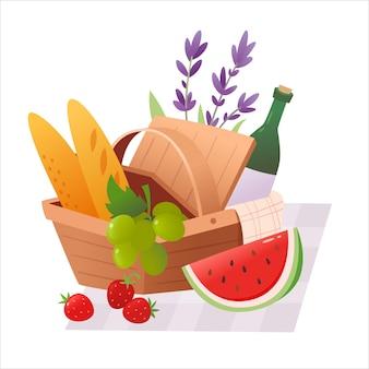 Открытая корзина для пикника с закусками, цветами и одеялом