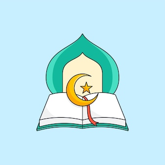 Opened quran islamic holy book with mosque dome illustration for muslim education foundation logo