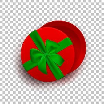 투명 한 배경 상위 뷰에 고립 된 녹색 리본과 활이 있는 빨간색 빈 선물 상자를 열었습니다.