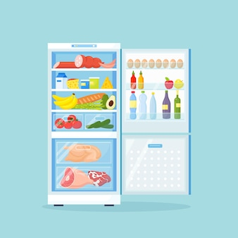 Opened refrigerator with different healthy food. fridge on kitchen, freezer with meat on shelves