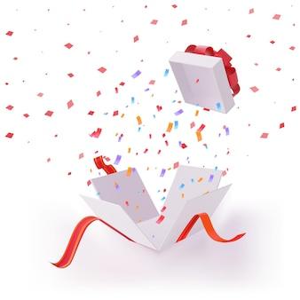 リボンと紙吹雪ブームのサプライズプレゼントボックスを開けました。挨拶パッケージ、賞の爆発、販売賞のシンボルまたは誕生日、バレンタインデー、クリスマス、新年のギフトテンプレートベクトル図
