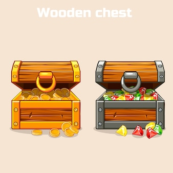 Opened treasure chest with coins and diamonds