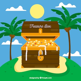 Opened treasure chest with flat design