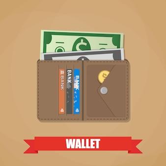 現金で開いた財布