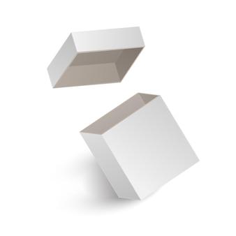The opened white box isolated on white background.   illustration