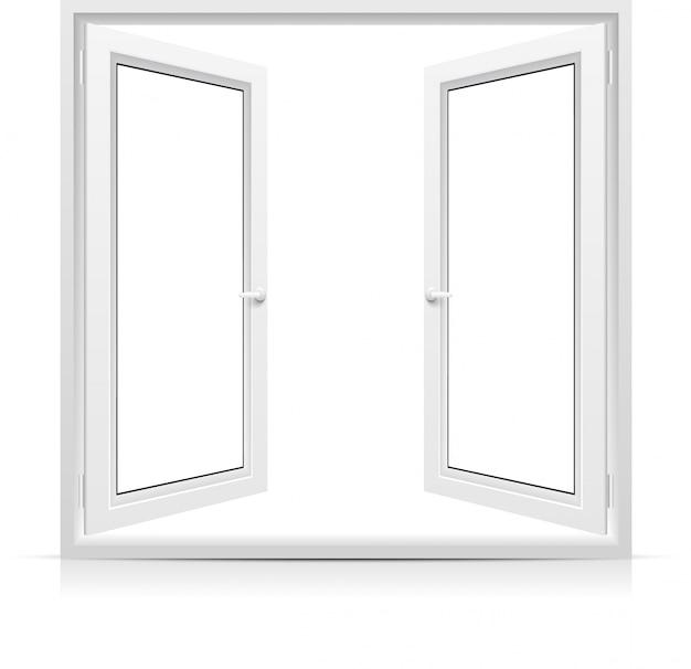 Открытое окно на белом фоне