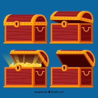 Openend and closed treasure boxes collection