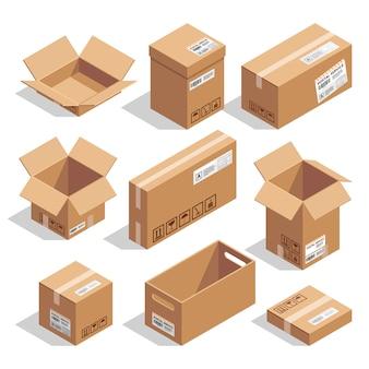 Открытые и закрытые картонные коробки. изометрические иллюстрации набор