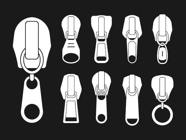 開閉式ジッパーとそのパーツさまざまな形状のスライダーのセット
