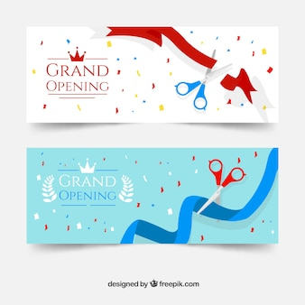 Opening banners with colorful confetti