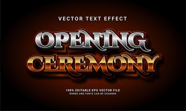 Opening ceremony 3d editable text style effect