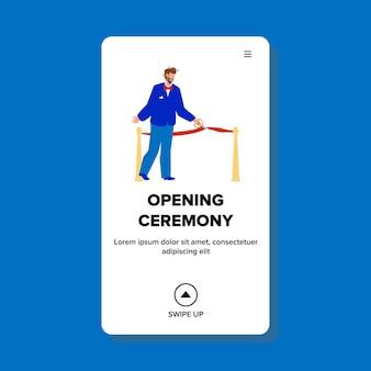 開会式テープ切断ビジネスマンベクトル。記念碑または建物の開会式イベント、男ははさみで赤いリボンをカットしました。キャラクタープレゼンテーション手順webフラット漫画イラスト