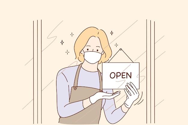 Открытие дверей после пандемии коронавируса, повторное открытие концепции.