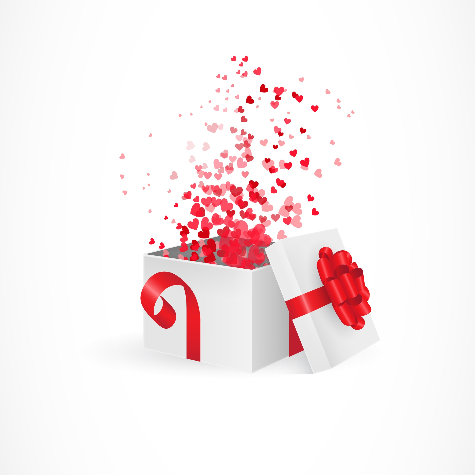 Opening gift box for Valentines day