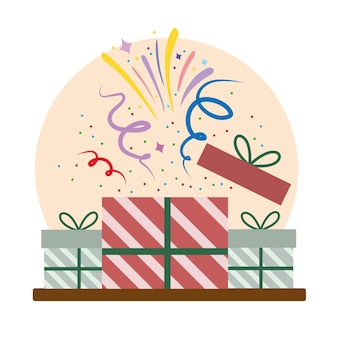Opening gifts party event confetti celebration cartoon  illustration