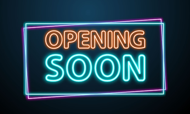 Opening neon sign vector frame