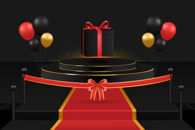 The opening of the prizes as a surprise on the podium there are balloons ribbons carpets and ligh