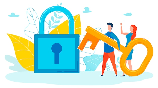Opening secrets metaphor flat vector illustration