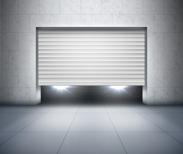 Opening shutter and car headlights inside garage with gray concrete block wall