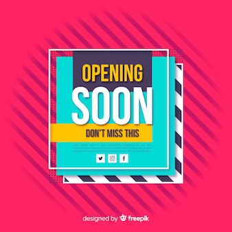 Opening soon background flat design