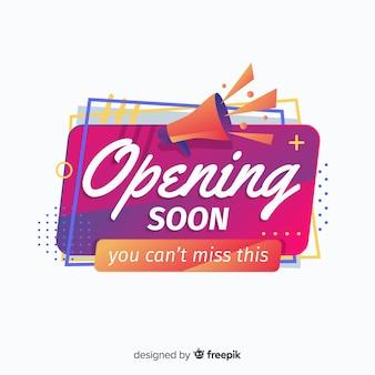 Opening soon background flat design
