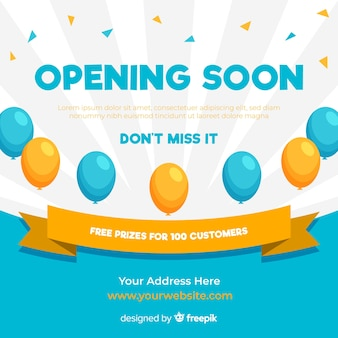 Opening soon background in flat style