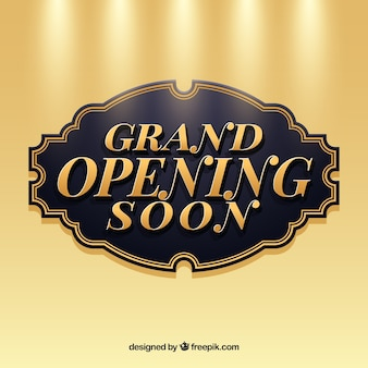 Opening soon background in golden style