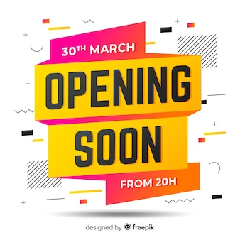 Opening soon background origami design