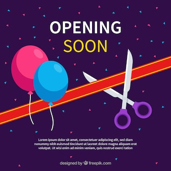 Opening soon background with balloons